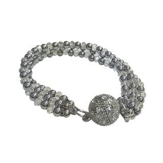Magnetic Hematite Bracelet with Clear Crystal