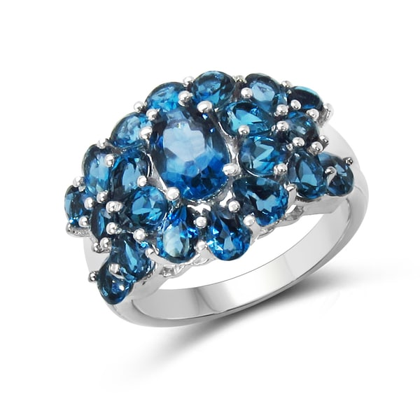 Malaika Sterling Silver London Blue Topaz Ring