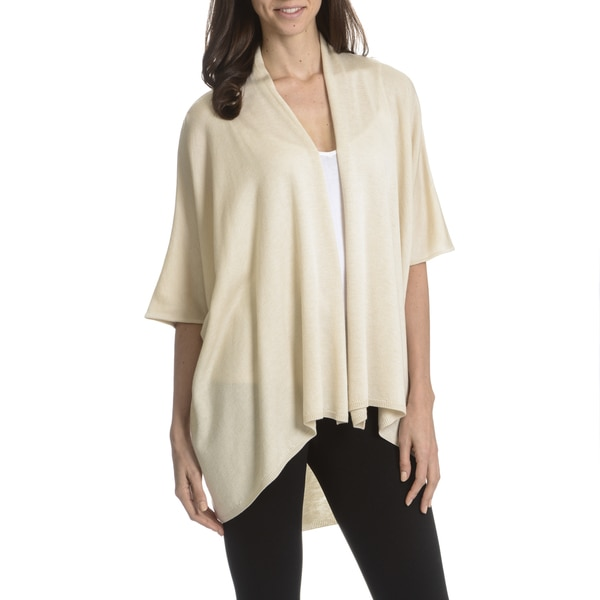 Joan Vass New York Women's Cashmere Blend Drape Front Cardigan