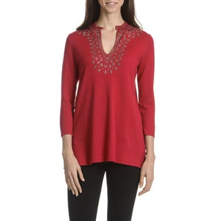 Joan Vass New York Women's Rhinestone Detail Tunic Knit Top