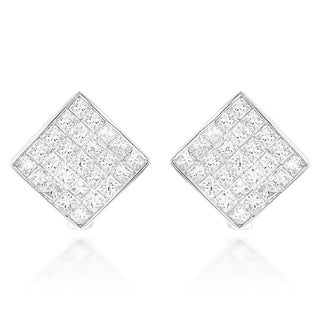 Luxurman 14k White Gold 1 1/2ct TDW Invisible Princess Cut Diamond Earrings (H-I, SI1-SI2)