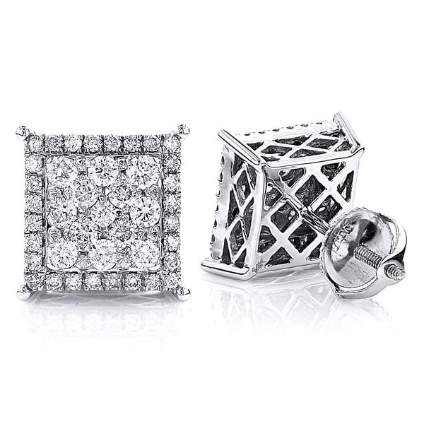 Luxurman 14k White Gold 1 1/5ct TDW Stud Diamond Cluster Earrings (G-H, SI1-SI2)
