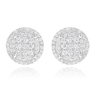 Luxurman 14k White Gold 1 3/5ct TDW Halo Diamond Cluster Earrings (G-H, SI1-SI2)