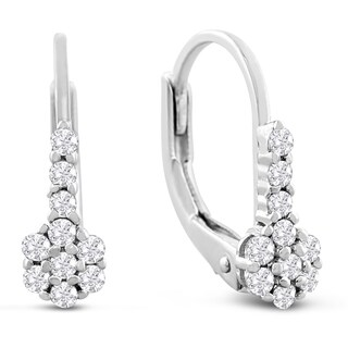 1/4ct Diamond Leverback Earrings In Sterling Silver