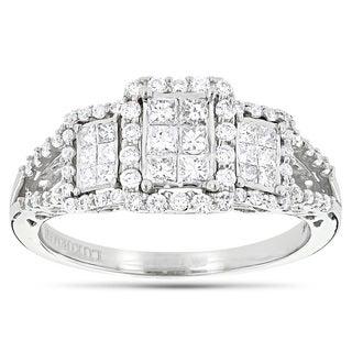 Luxurman 14k White Gold 1ct TDW Round and Princess Diamond Engagement Ring (H-I, SI1-SI2)