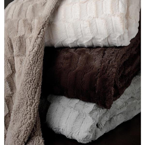 Logan Plush Reversible Sherpa Faux Fur Queen Blanket