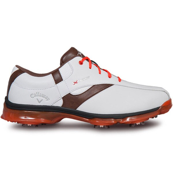 Callaway Mens X Nitro Golf White/Brown/Orange Shoes