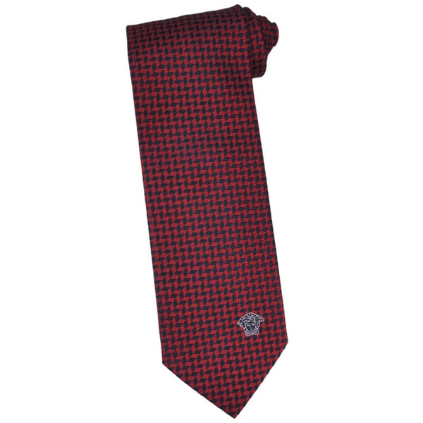Versace 100-percent Italian Silk Red Herringbone Neck Tie