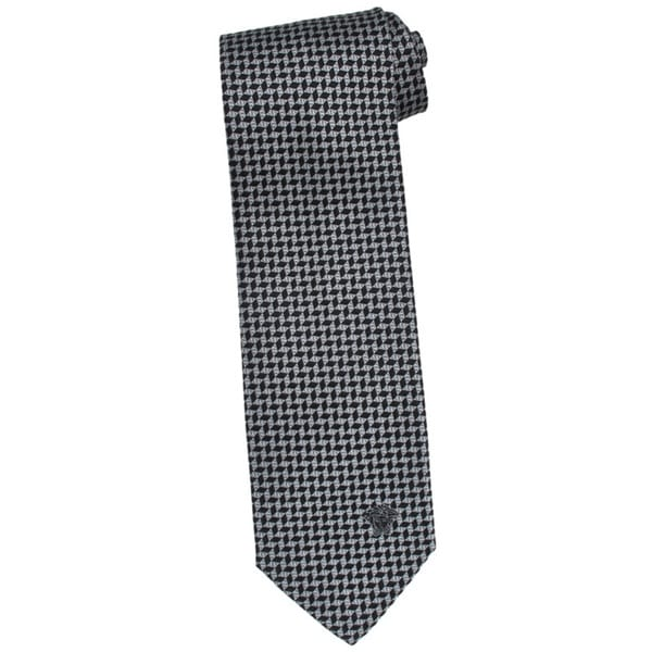 Versace 100-percent Italian Silk Grey Herringbone Neck Tie