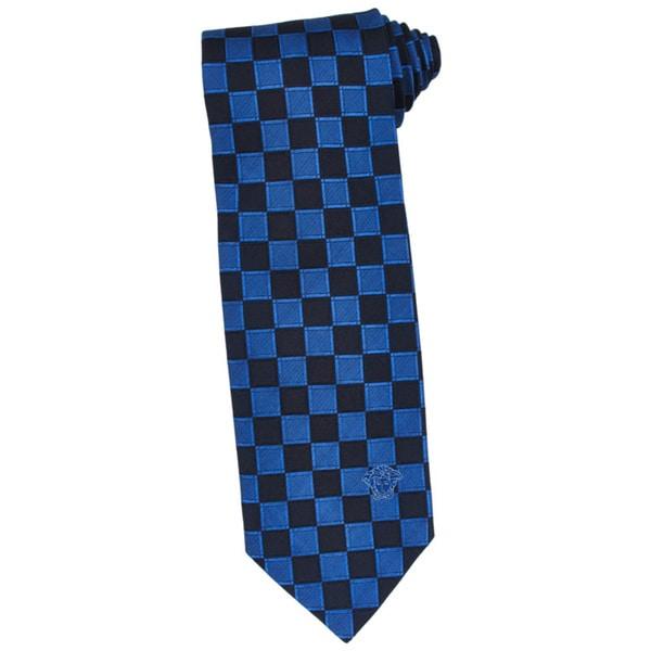 Versace 100-percent Italian Silk Blue/ Navy Check Neck Tie