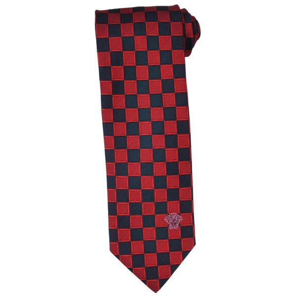 Versace 100-percent Italian Silk Red/ Navy Check Neck Tie