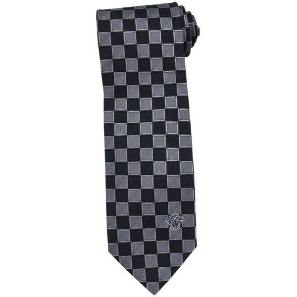 Versace 100-percent Italian Silk Grey/ Black Check Neck Tie