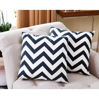ABBYSON LIVING Jay Black Chevron 18-inch Throw Pillows (Set of 2)