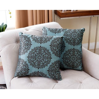ABBYSON LIVING 18-inch Floral Teal Pillows (Set of 2)