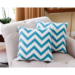 Abbyson Living Jay Turquoise Chevron 18-inch Pillow (Set of 2)