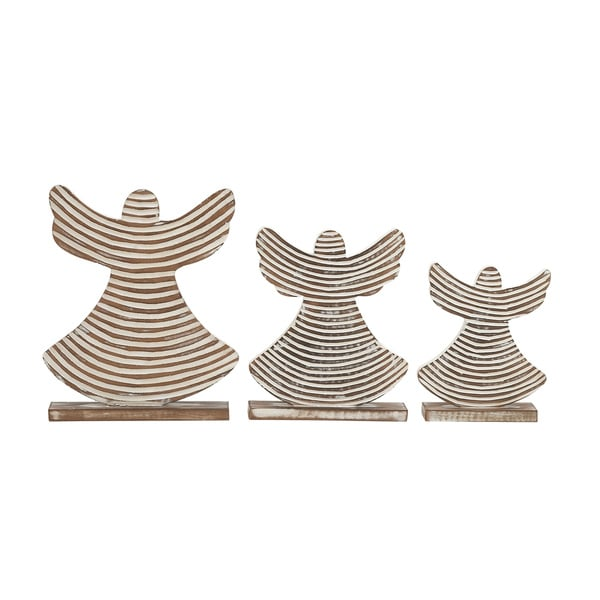 Wood Striped Angels (Set of 3)