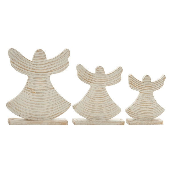 White Wood Angels (Set of 3)