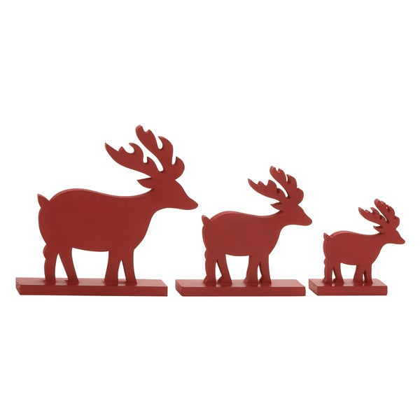 Red Wood Walking Reindeers (Set of 3)