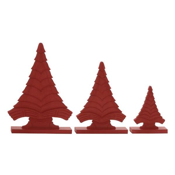 Red Wood Christmas Trees on Base (Set of 3) 16945490