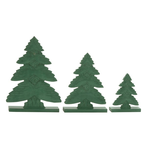 Green Wood Layered Christmas Trees (Set of 3)