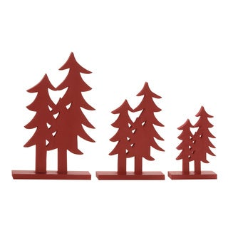Red Wood Double Christmas Trees (Set of 3)