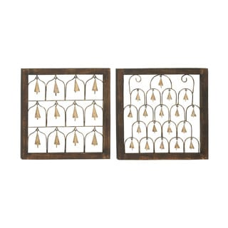 Assorted Wood Metal Bell Decors (Set of 2)