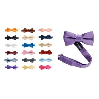 Sportoli Kids and Baby Adjustable Solid Color Satin Pre-tied Bow Tie