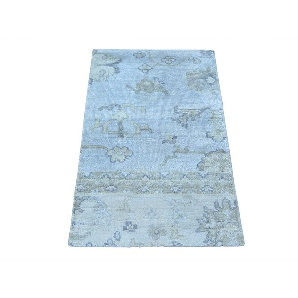 Stone Wash Silk from Rayon from Bamboo Oushak Oriental Hand-knotted Rug (1'10 x 3')