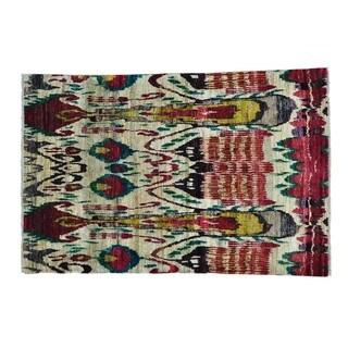Beige Sari Silk Suzani High Quality Oriental Handmade Rug (6' x 9')