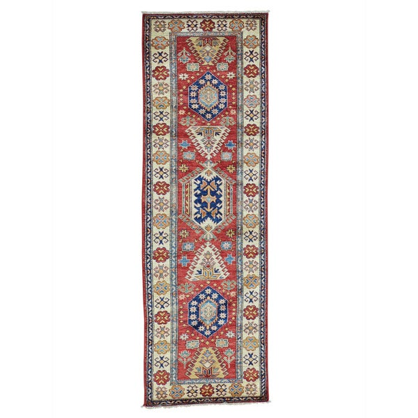 Tribal Design Super Kazak Oriental Handmade Runner Rug (2'9 x 8'7) 16951147