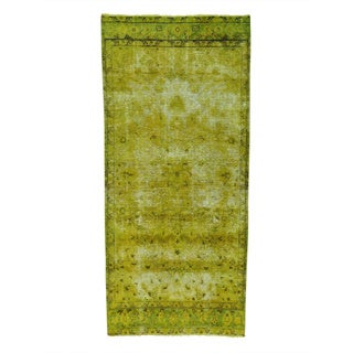 Light Green Persian Tabriz Overdyed Handmade Runner Rug (3'7 x 7'10)