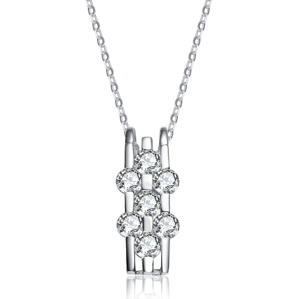 Collette Z Sterling Silver White Cubic Zirconia Modern Band Pendant