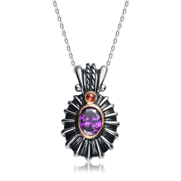 Collette Z Sterling Silver Violet And Red Cubic Zirconia Black Pendant