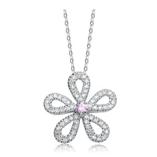 Collette Z Sterling Silver Pink And White Cubic Zirconia Flower Pendant