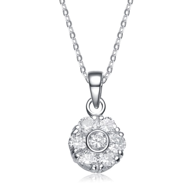 Collette Z Sterling Silver White Cubic Zirconia Stones Classic Pendant