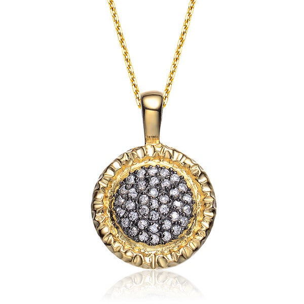 Collette Z Sterling Silver White And Gold Cubic Zirconia Gold-Plated Round Pendant