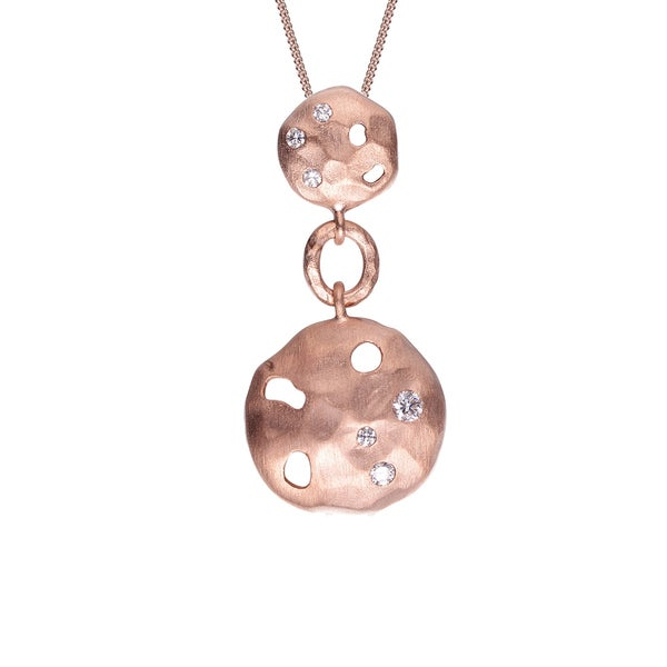 Collette Z Sterling Silver Pink Cubic Zirconia Irregular Cut Stone Pendant