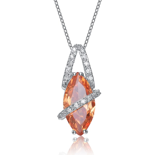 Collette Z Sterling Silver Orange Cubic Zirconia Stone Oval Band Pendant