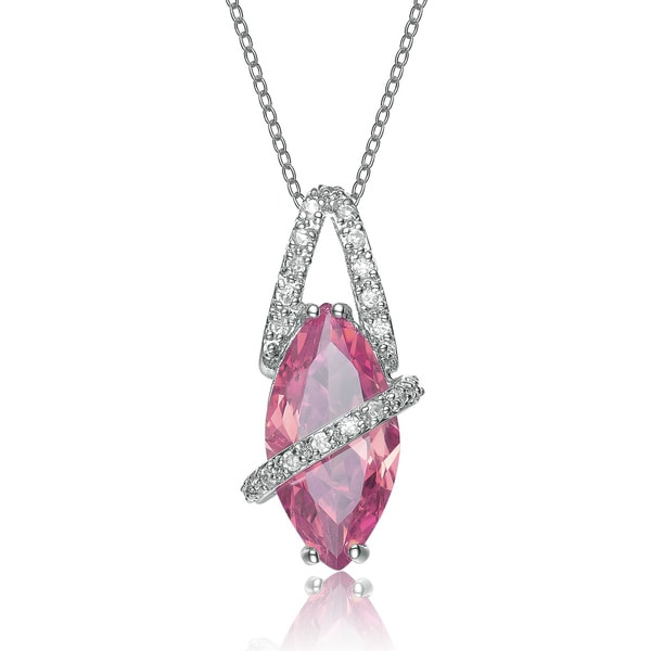 Collette Z Sterling Silver Pink Cubic Zirconia Stone Oval Band Pendant