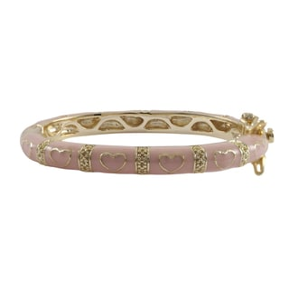 Gold Finish Children's Pink Enamel Heart Bangle Bracelet