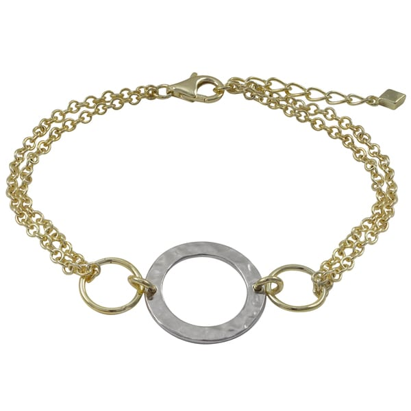 Two-tone Gold Finish Hammered Circle Two-row Bracelet