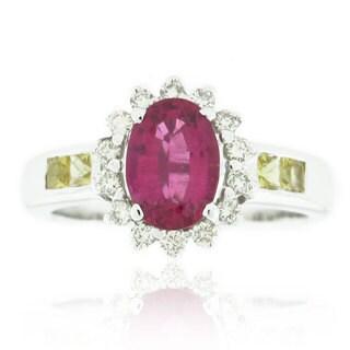 Suzy Levian 18K White Gold Pink Ceylon Sapphire and Diamond Ring