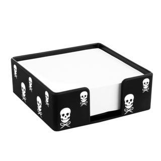 Insten Black with White Skull Desktop Memo Pad Holder Soft Touch