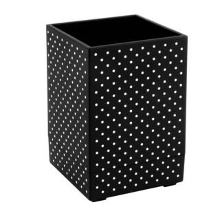 Insten Black with White Dot Pen Pencil Ruler Holder Cup Stationary Desktop Organizer Soft Touch