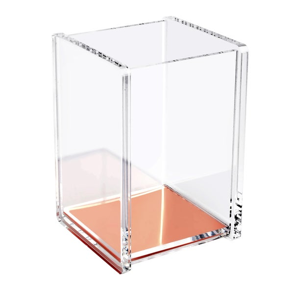 Insten Soft Touch Deluxe Design Acrylic Clear Rose Gold Pen Pencil Ruler Holder Cup Stationary Desktop Organizer