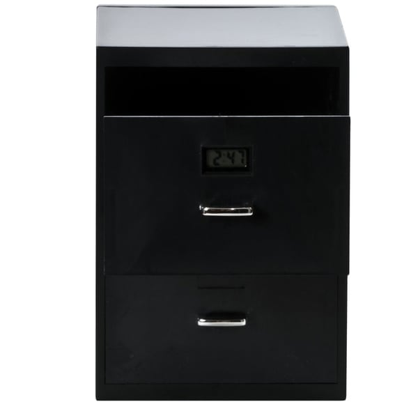 Miniature Business Card File Cabinet with Digital Clock