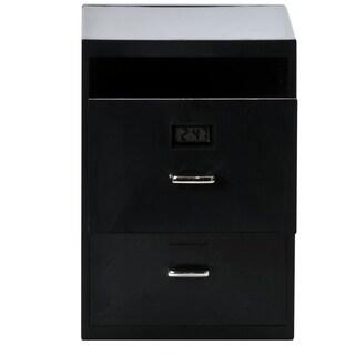 Miniature Business Card File Cabinet with Digital Clock