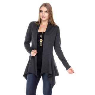 Stanzino Women's Flared Long-Sleeve Open Knit Cardigan