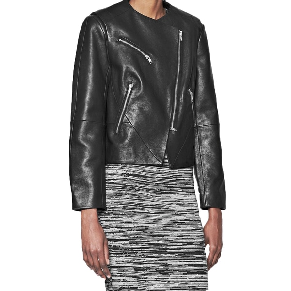 French Connection Women's Black Pebbled Leather Collarless Jacket