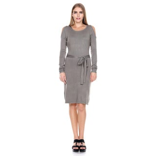 Stanzino Women's Off Shoulder Belted Knit Sweater Dress